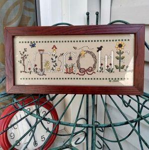 Vintage circa 2000 cross-stitch Welcome sign